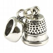 Thimble Sterling Silver 3D Dangle Charm / Carrier Bead Sewing & Needlework